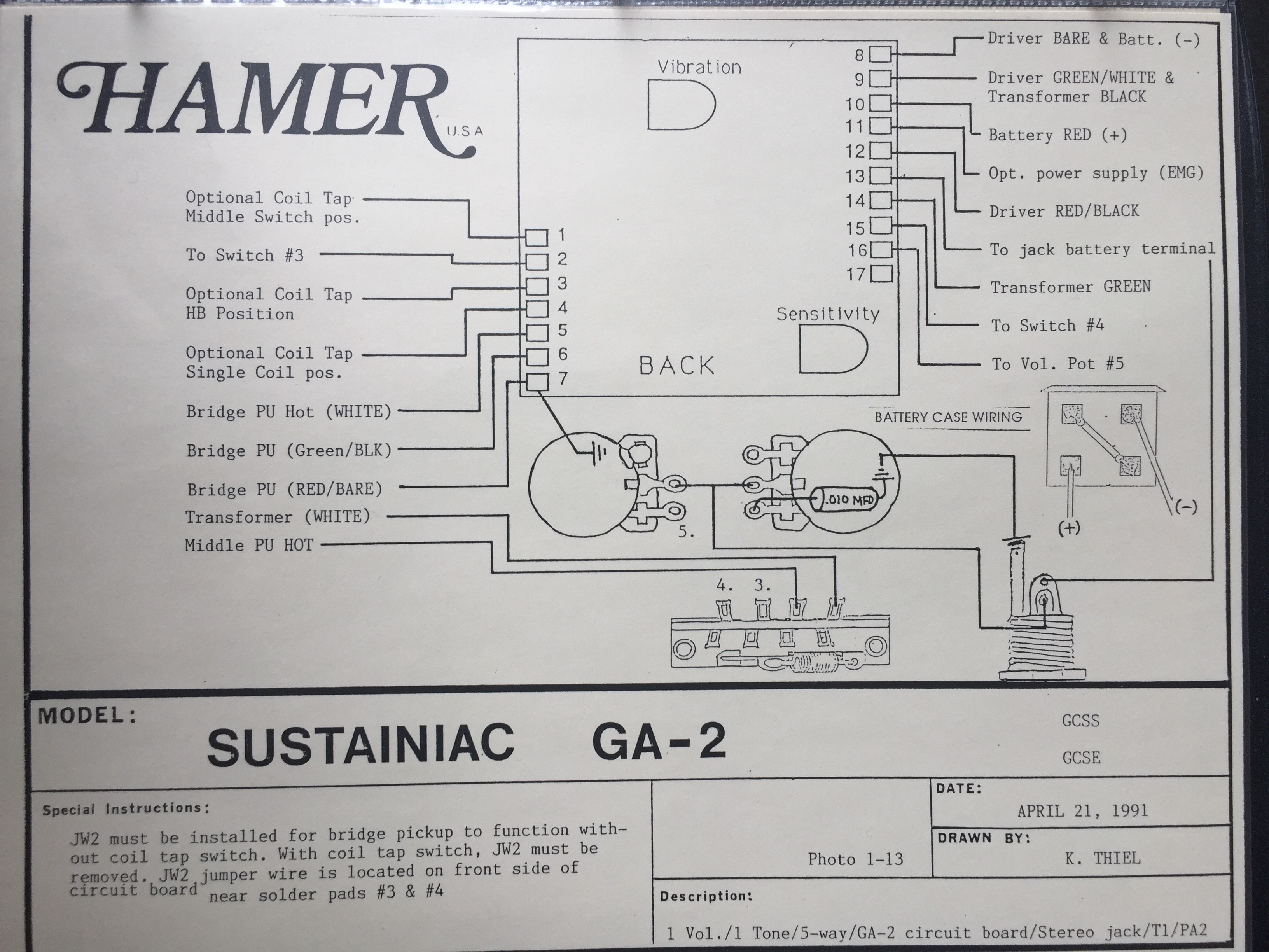 Hamer Chaparral Wiring Diagram Fan Club Messageboard Schematics 2 Volume 1 Tone And For Anyone With The Other Later Sustainiac Circuit I Have This
